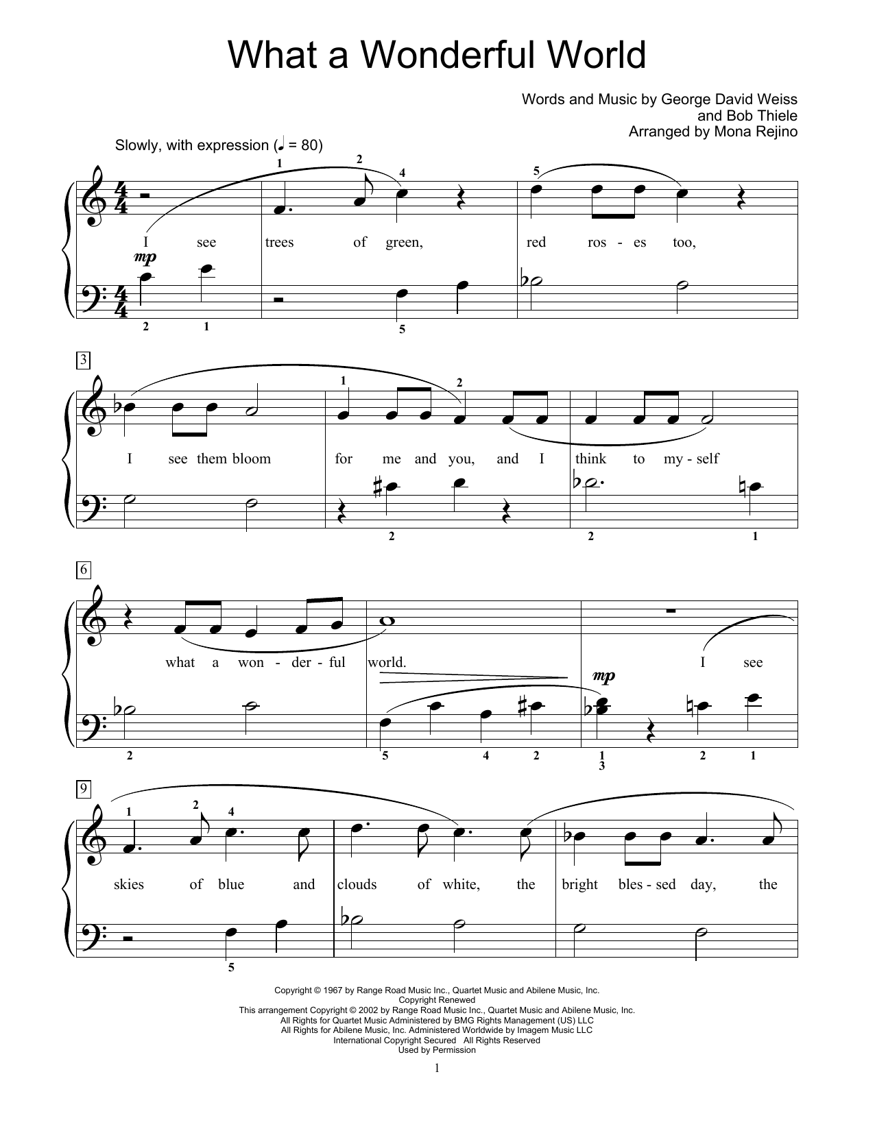 Louis Armstrong What A Wonderful World (arr. Mona Rejino) sheet music notes and chords