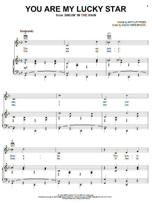 Louis Armstrong You Are My Lucky Star sheet music notes and chords. Download Printable PDF.