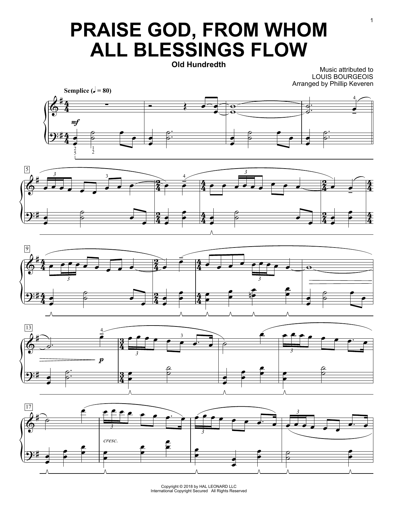 Louis Bourgeois Praise God, From Whom All Blessings Flow (arr. Phillip Keveren) sheet music notes and chords. Download Printable PDF.
