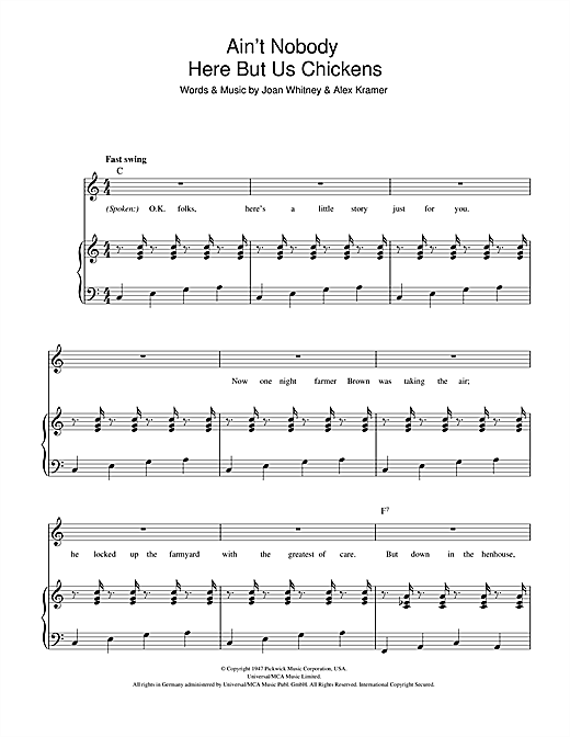 Louis Jordan Ain't Nobody Here But Us Chickens sheet music notes and chords. Download Printable PDF.