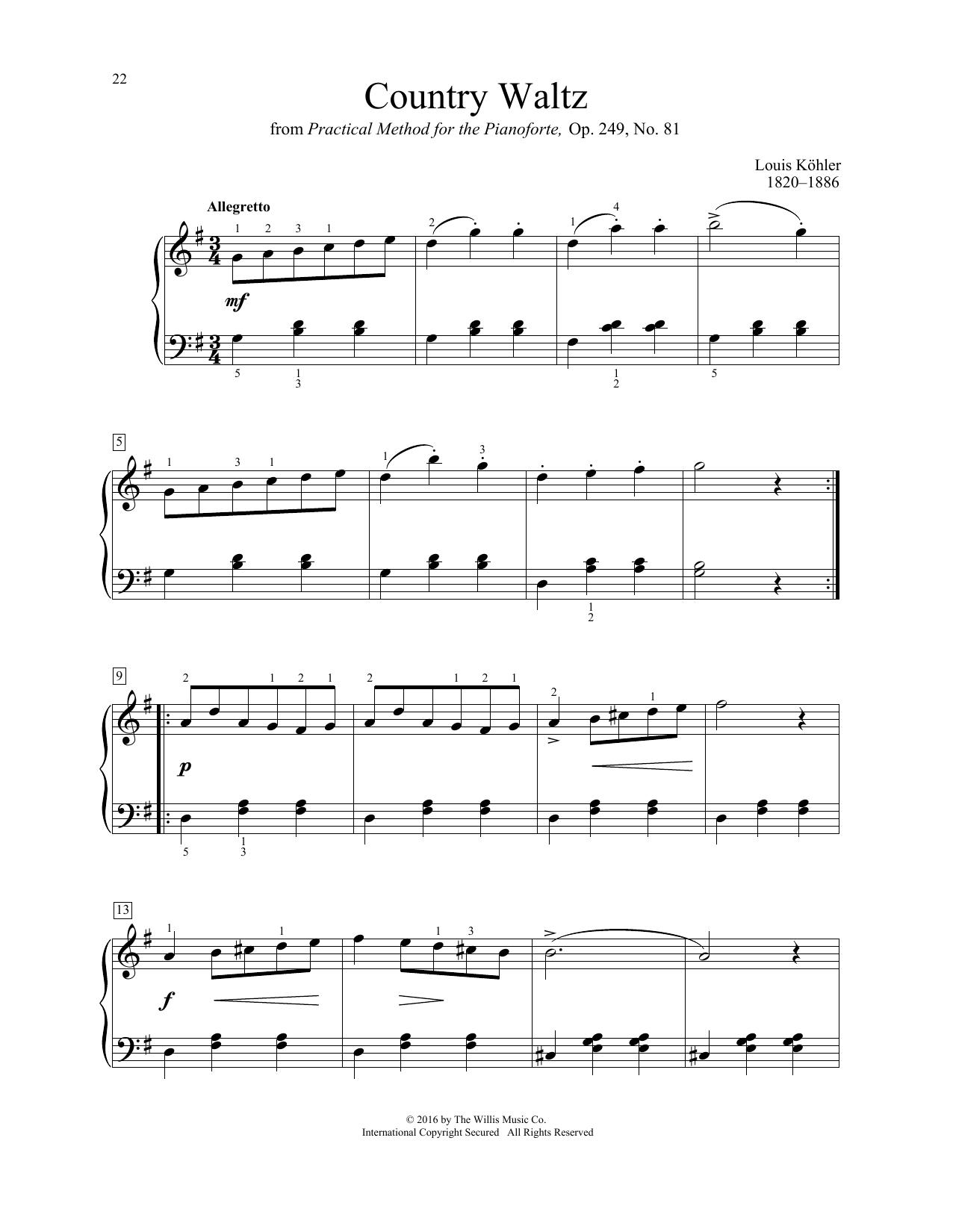 Louis Kohler Country Waltz sheet music notes and chords. Download Printable PDF.