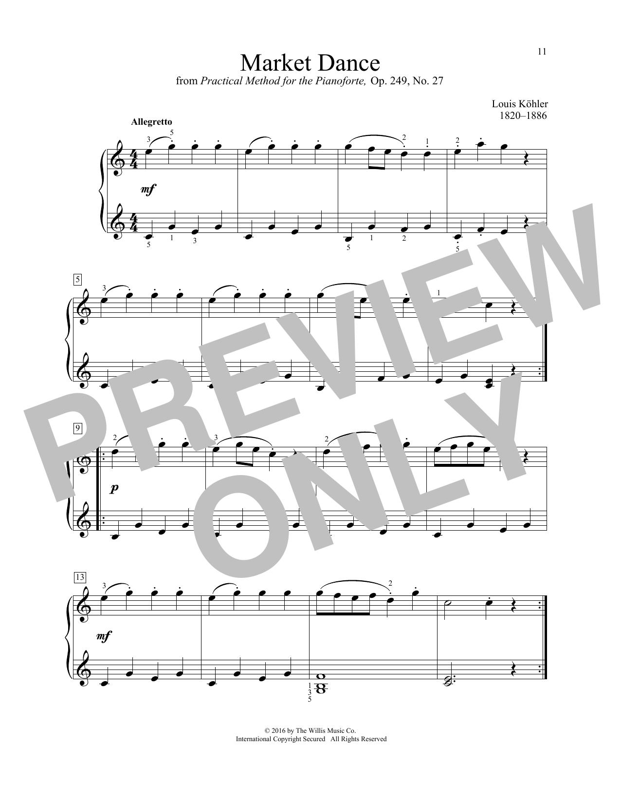 Louis Kohler Market Dance sheet music notes and chords. Download Printable PDF.
