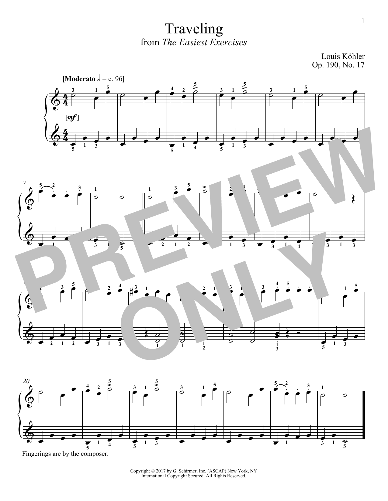 Louis Kohler Traveling, Op. 190, No. 17 sheet music notes and chords