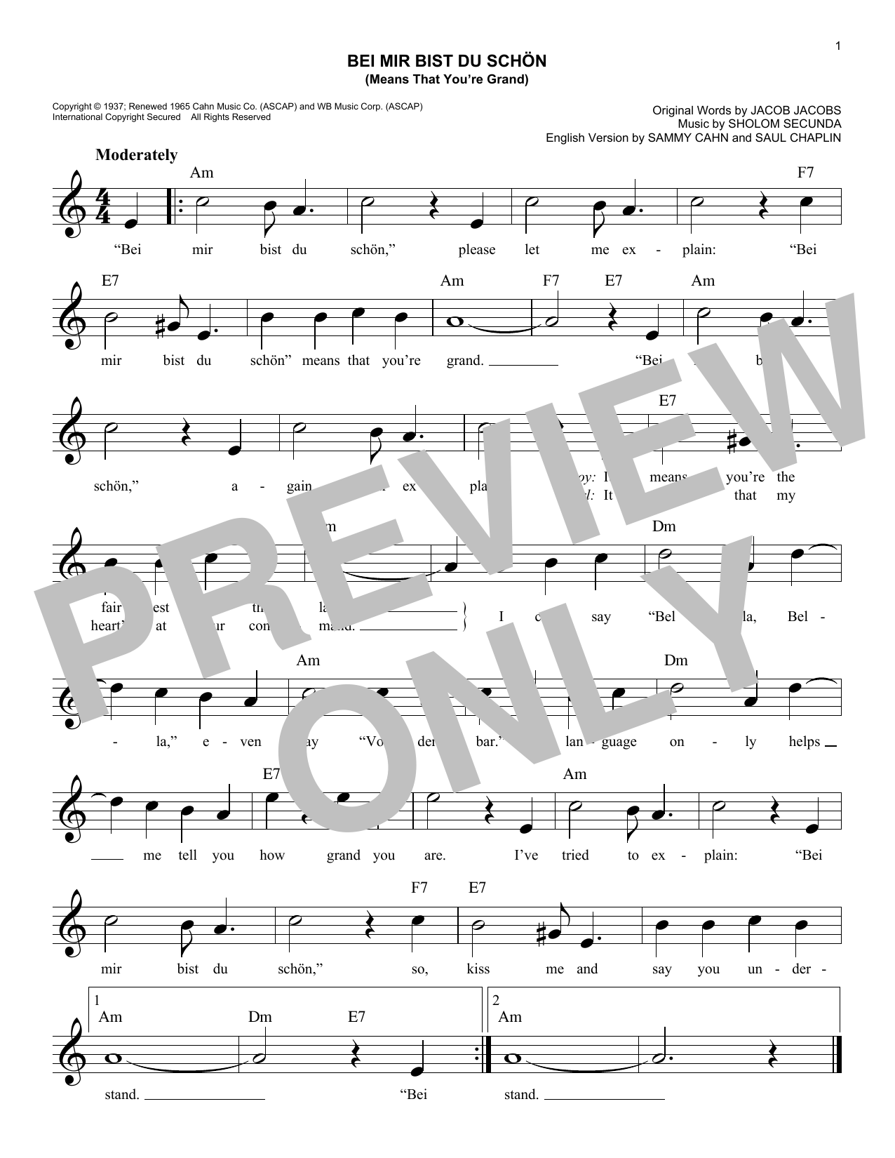 Louis Prima & Keely Smith Bei Mir Bist Du Schon (Means That You're Grand) sheet music notes and chords. Download Printable PDF.