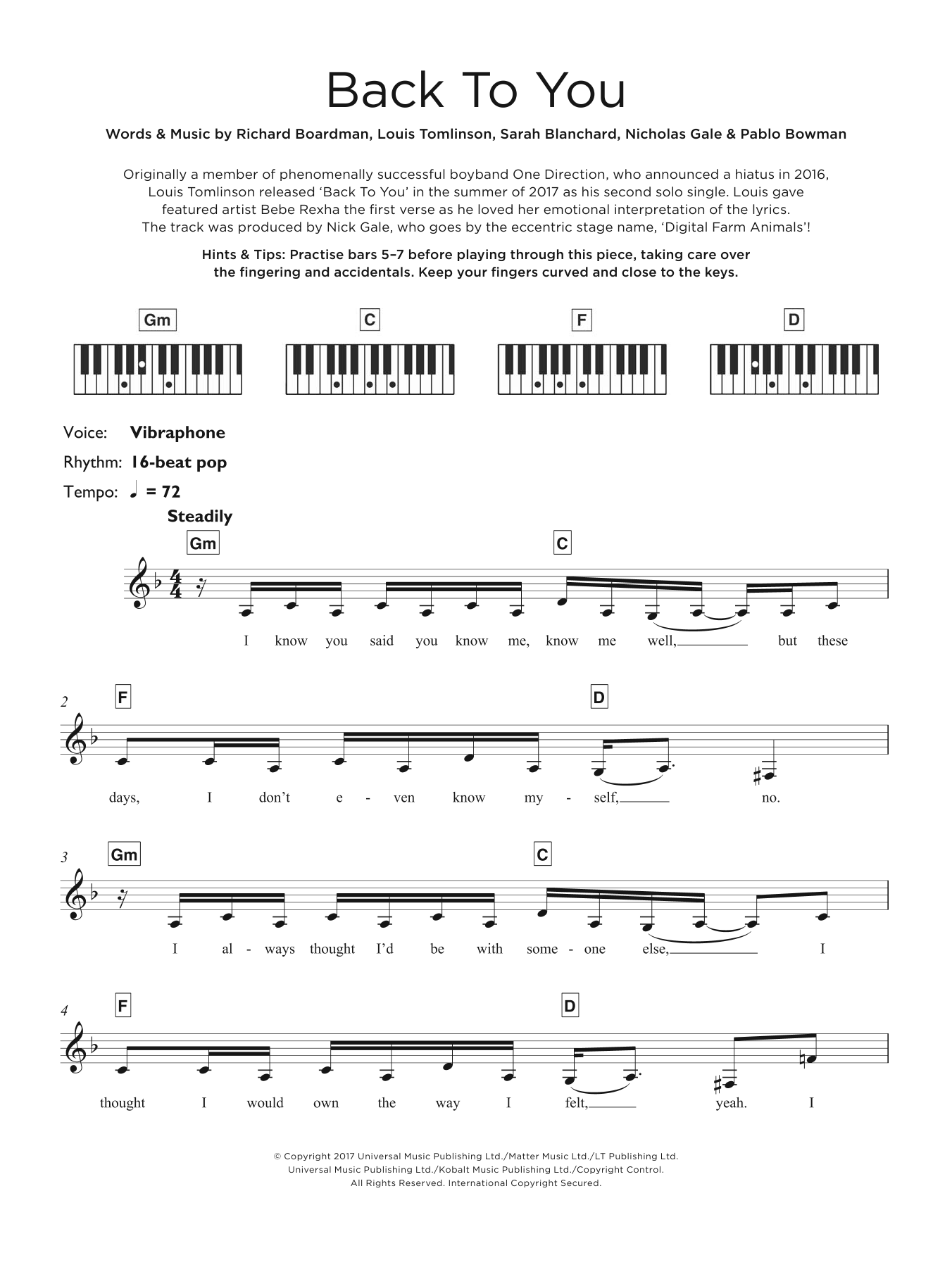 Louis Tomlinson Back To You (feat. Bebe Rexha & Digital Farm Animals) sheet music notes and chords. Download Printable PDF.