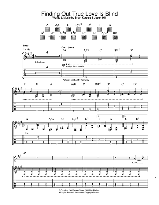 Louis XIV Finding Out True Love Is Blind sheet music notes and chords. Download Printable PDF.