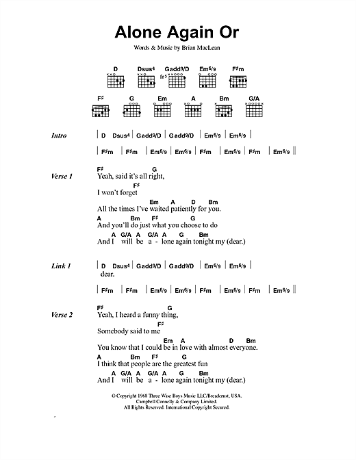Love Alone Again Or sheet music notes and chords. Download Printable PDF.