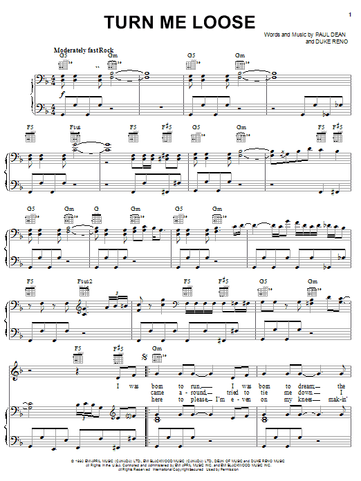 Loverboy Turn Me Loose sheet music notes and chords