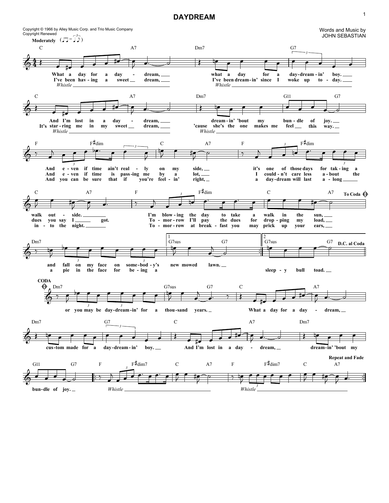 The Lovin' Spoonful Daydream sheet music notes and chords. Download Printable PDF.