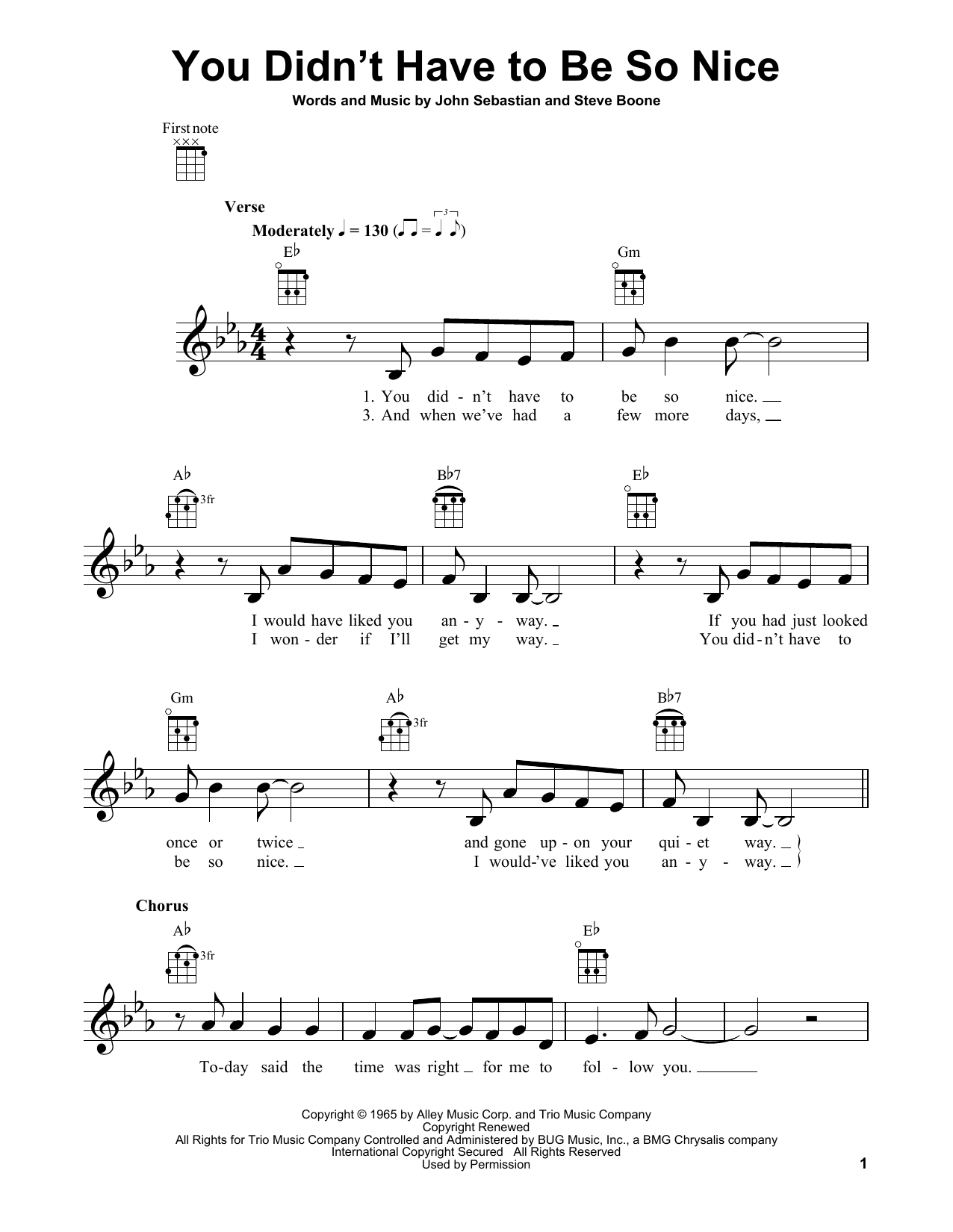 Lovin' Spoonful You Didn't Have To Be So Nice sheet music notes and chords. Download Printable PDF.