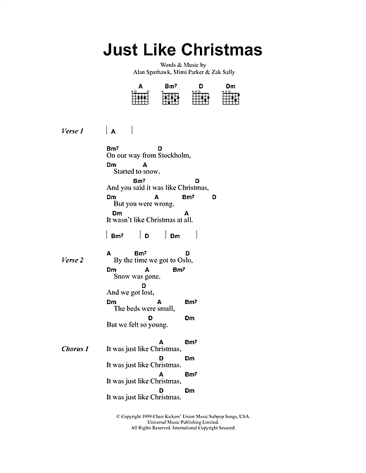 Low Just Like Christmas sheet music notes and chords