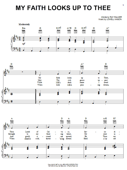 Lowell Mason My Faith Looks Up To Thee sheet music notes and chords. Download Printable PDF.