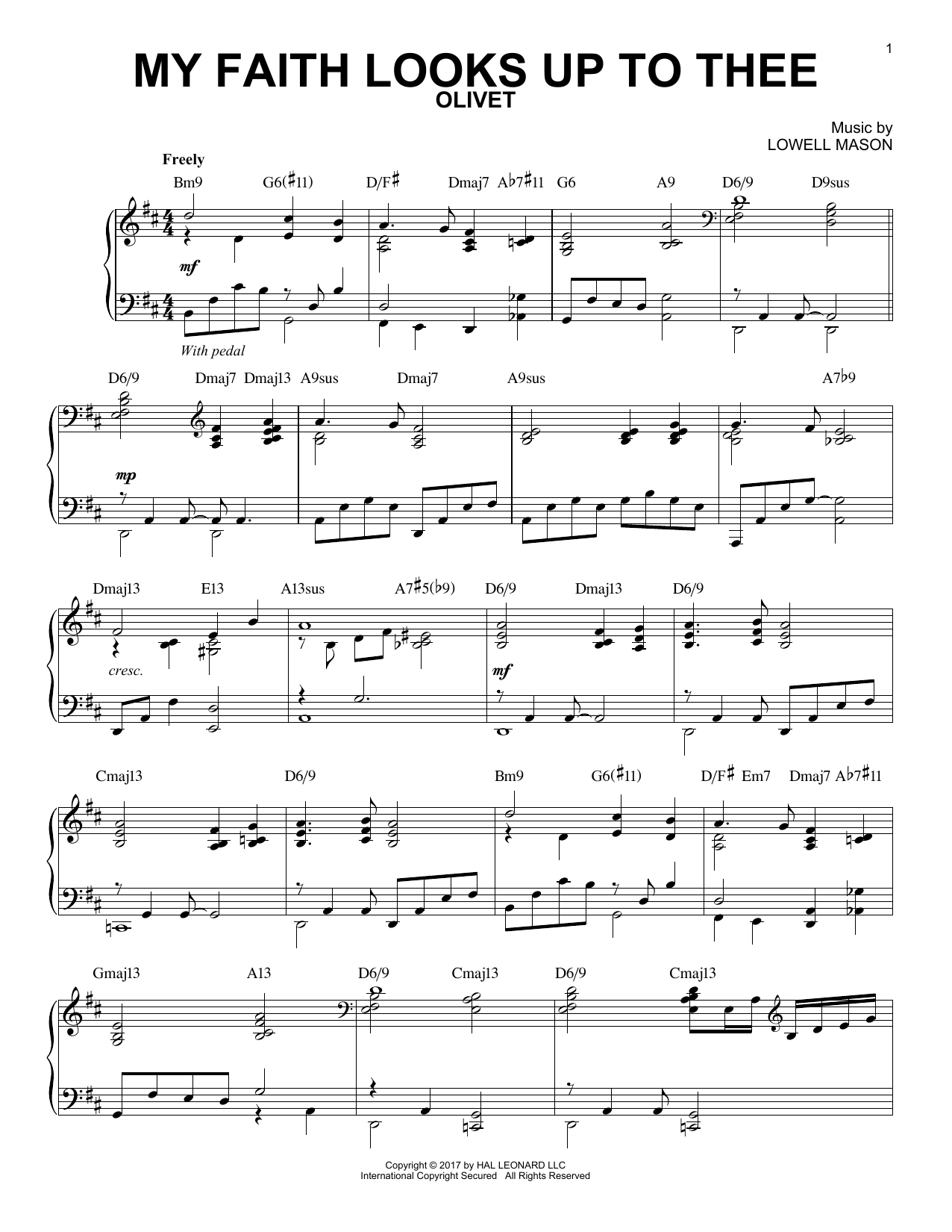 Lowell Mason My Faith Looks Up To Thee [Jazz version] sheet music notes and chords. Download Printable PDF.