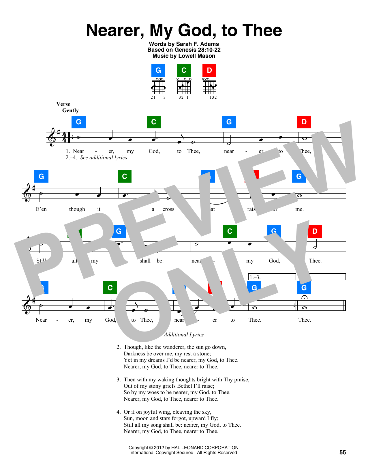 Lowell Mason Nearer, My God, To Thee sheet music notes and chords. Download Printable PDF.