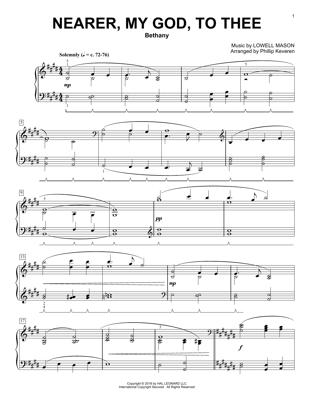 Lowell Mason Nearer, My God, To Thee [Classical version] (arr. Phillip Keveren) sheet music notes and chords. Download Printable PDF.