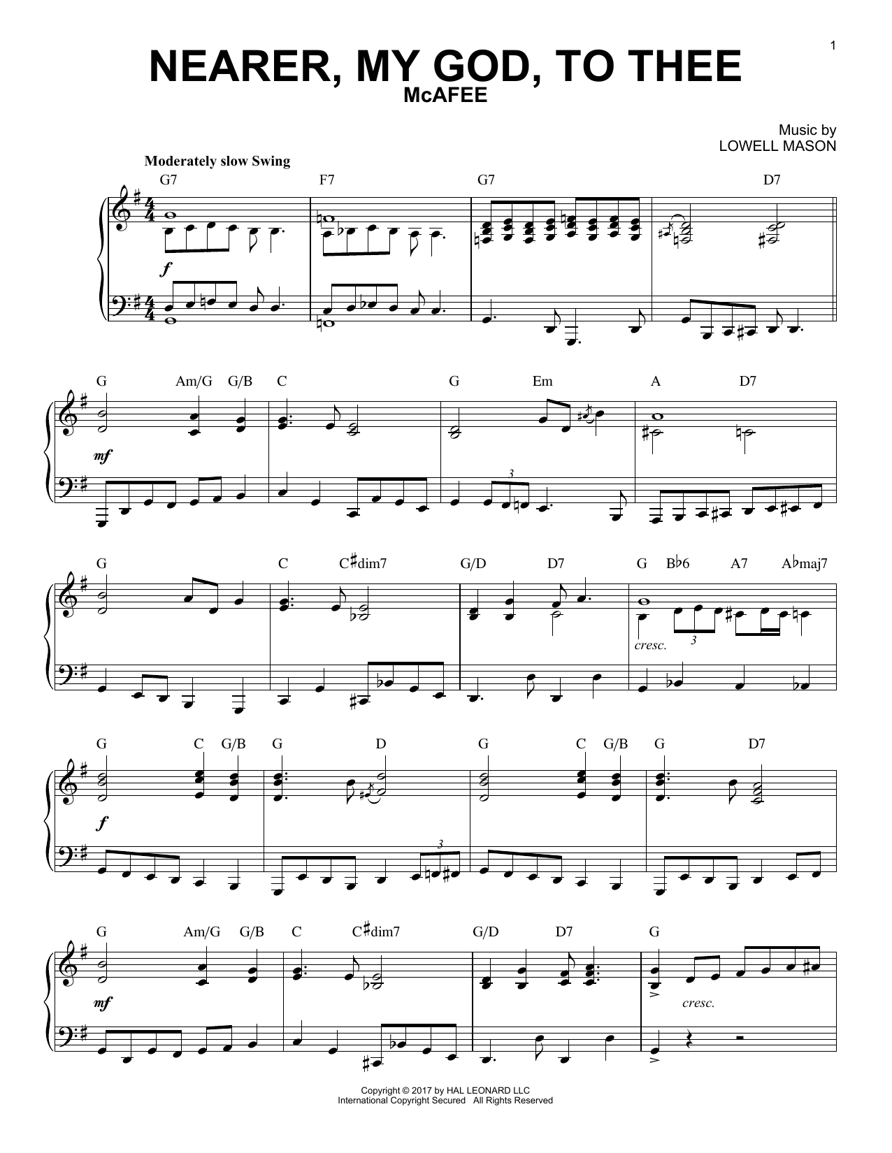 Lowell Mason Nearer, My God, To Thee [Jazz version] sheet music notes and chords. Download Printable PDF.