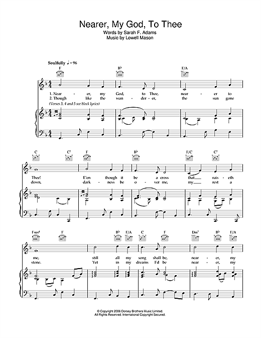 Lowell Mason Nearer My God To Thee sheet music notes and chords. Download Printable PDF.