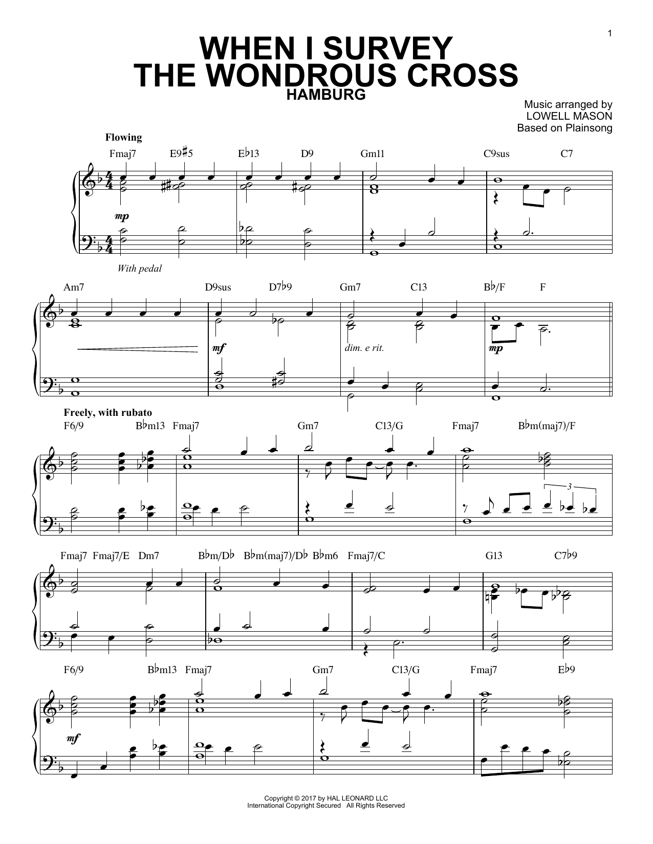 Lowell Mason When I Survey The Wondrous Cross [Jazz version] sheet music notes and chords. Download Printable PDF.