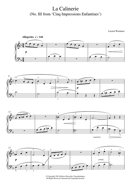 Lucien Wurmser La Calinerie (No. III From 'Cinq Impressions Enfantines') sheet music notes and chords. Download Printable PDF.