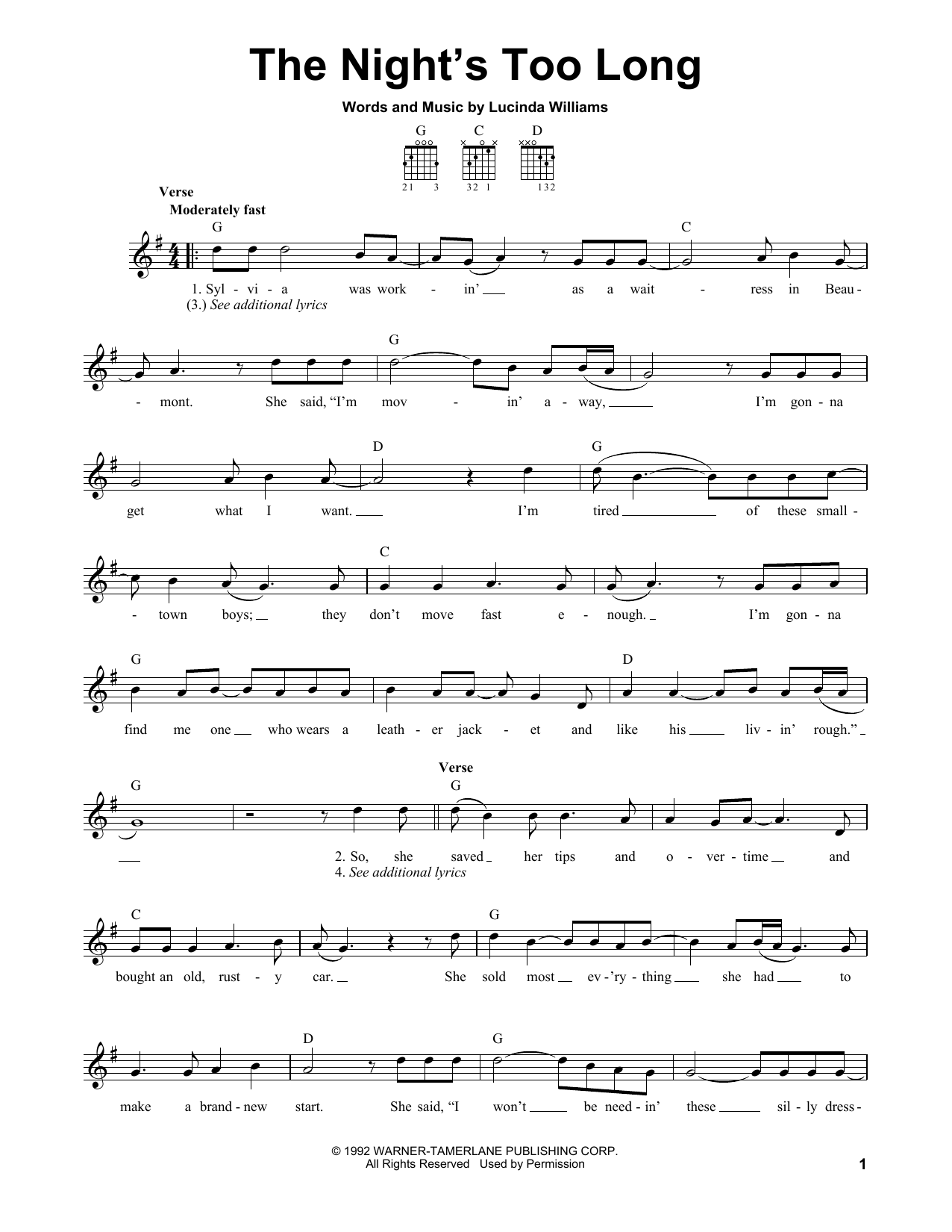 Lucinda Williams The Night's Too Long sheet music notes and chords. Download Printable PDF.