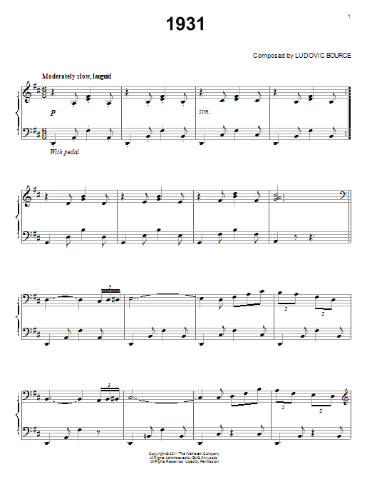 Ludovic Bource 1931 sheet music notes and chords. Download Printable PDF.