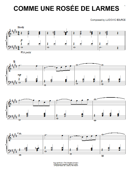 Ludovic Bource Comme Une Rosee De Larmes sheet music notes and chords. Download Printable PDF.