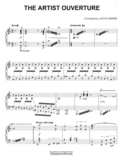 Ludovic Bource The Artist Ouverture sheet music notes and chords. Download Printable PDF.