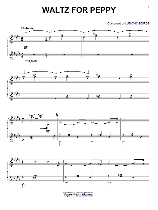 Ludovic Bource Waltz For Peppy (from The Artist) sheet music notes and chords. Download Printable PDF.