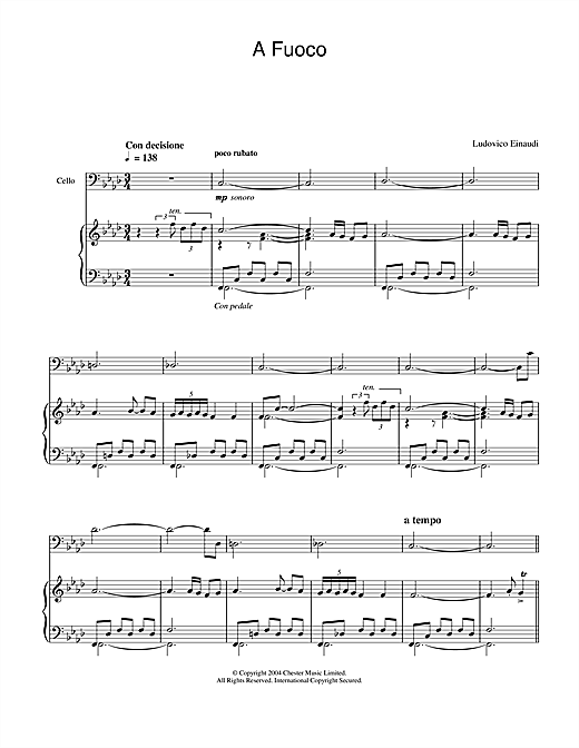 Ludovico Einaudi A Fuoco sheet music notes and chords