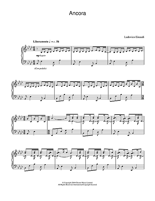Ludovico Einaudi Ancora sheet music notes and chords. Download Printable PDF.