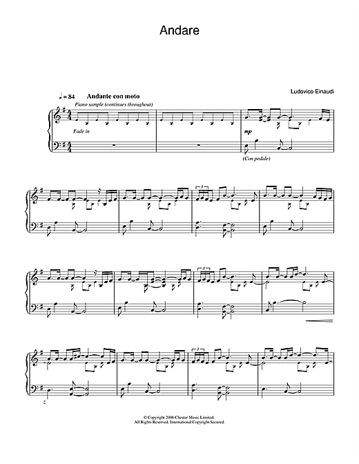 Ludovico Einaudi Andare sheet music notes and chords. Download Printable PDF.