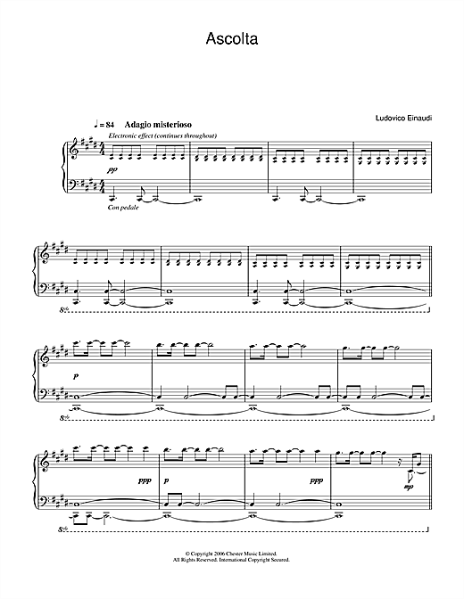 Ludovico Einaudi Ascolta sheet music notes and chords. Download Printable PDF.