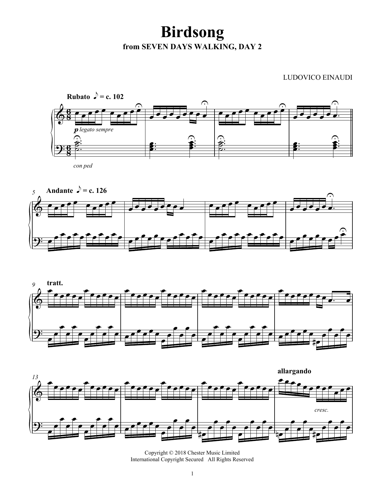 Ludovico Einaudi Birdsong (from Seven Days Walking: Day 2) sheet music notes and chords