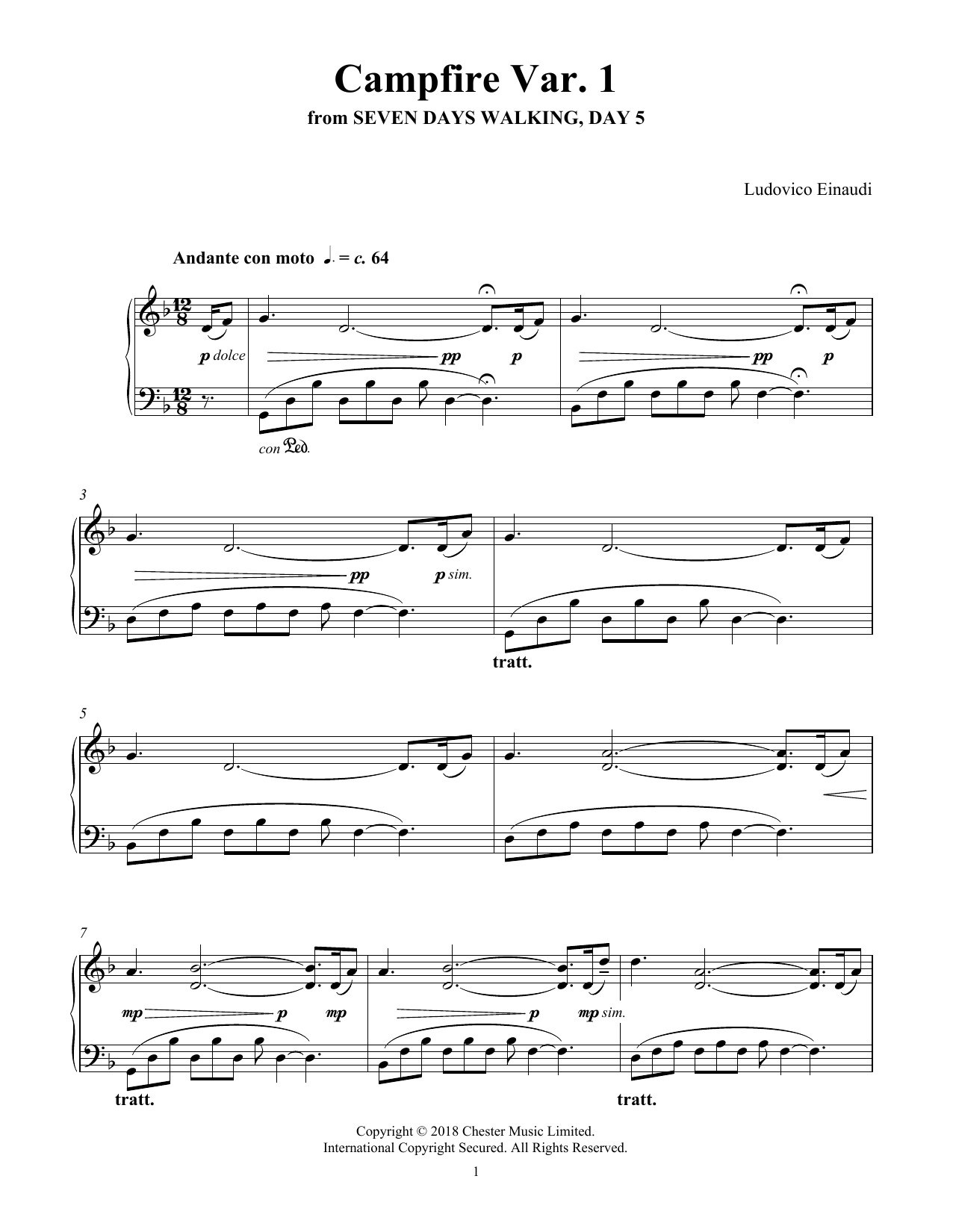 Ludovico Einaudi Campfire Var. 1 (from Seven Days Walking: Day 5) sheet music notes and chords. Download Printable PDF.