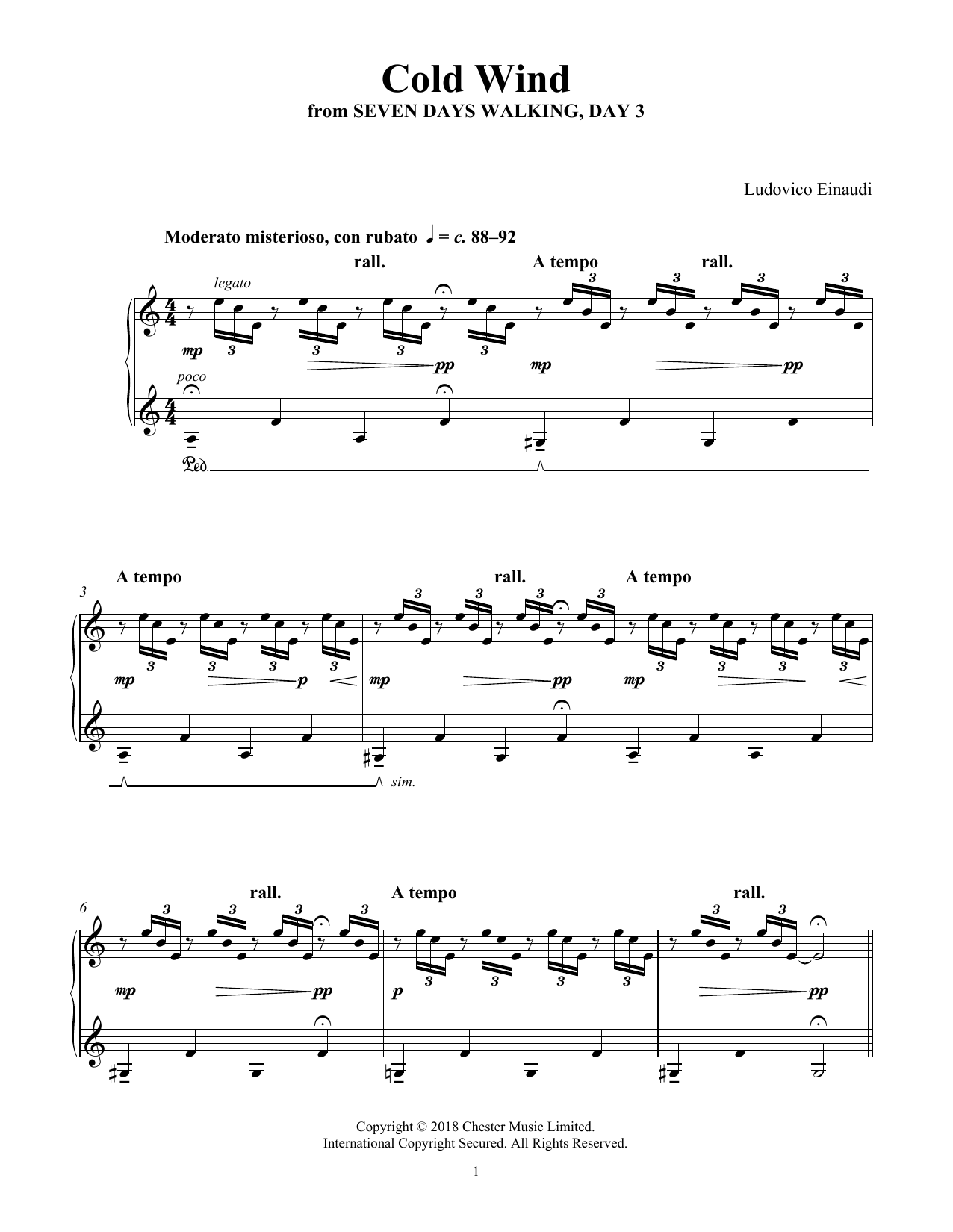 Ludovico Einaudi Cold Wind (from Seven Days Walking: Day 3) sheet music notes and chords. Download Printable PDF.