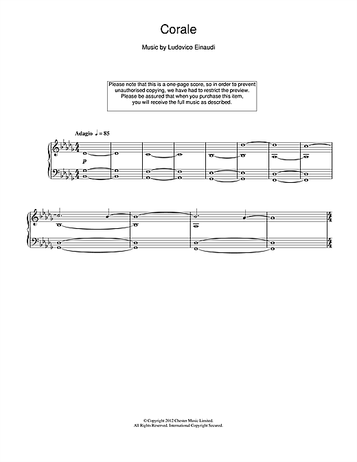 Ludovico Einaudi Corale sheet music notes and chords