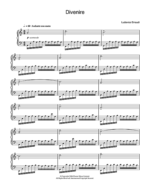 Ludovico Einaudi Divenire sheet music notes and chords. Download Printable PDF.