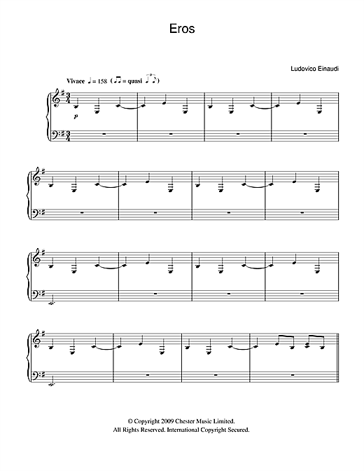 Ludovico Einaudi Eros sheet music notes and chords
