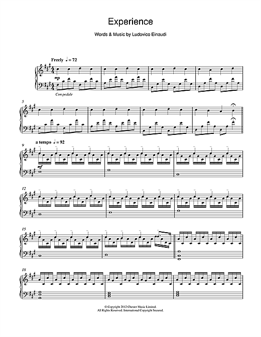 Ludovico Einaudi Experience sheet music notes and chords