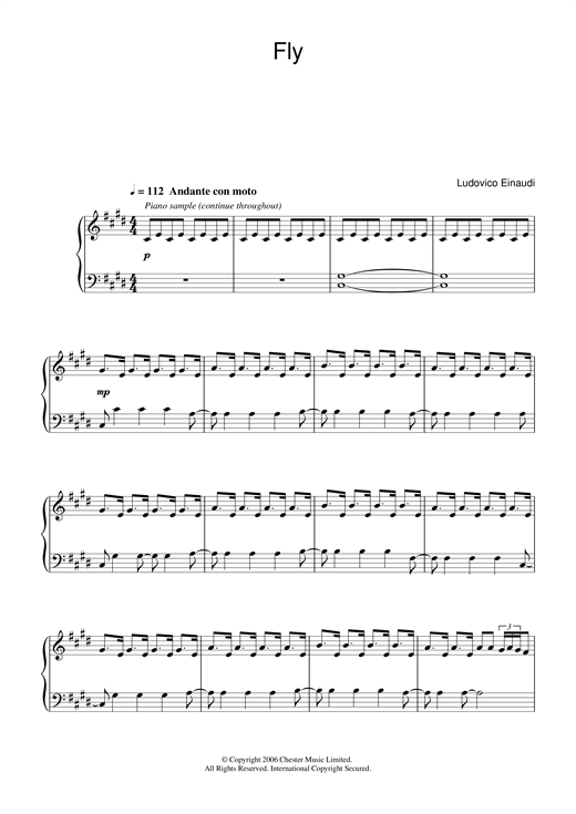 Ludovico Einaudi Fly (Theme from Doctor Foster) sheet music notes and chords. Download Printable PDF.