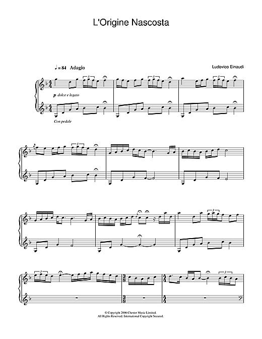 Ludovico Einaudi L'Origine Nascosta sheet music notes and chords