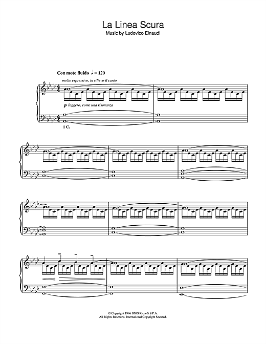 Ludovico Einaudi La Linea Scura sheet music notes and chords