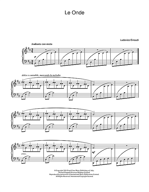 Ludovico Einaudi Le Onde sheet music notes and chords