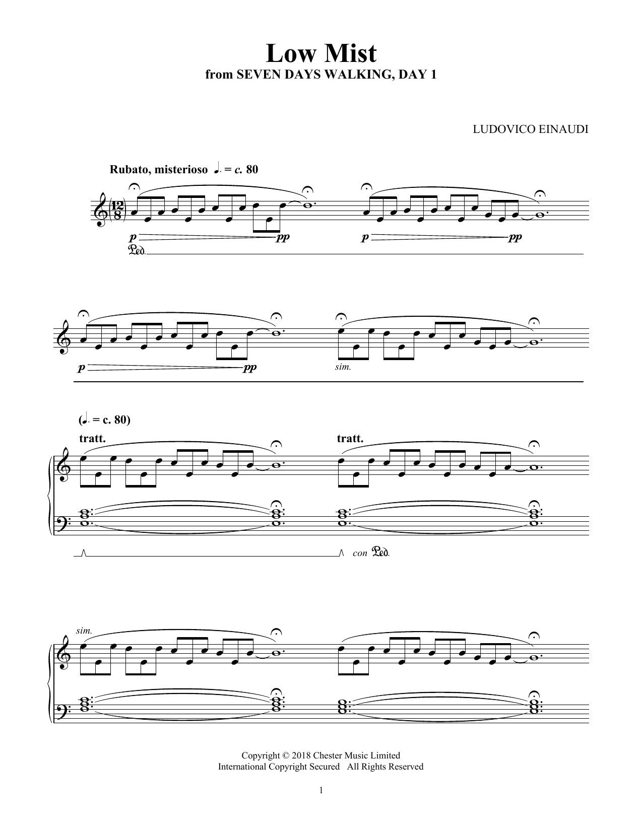 Ludovico Einaudi Low Mist (from Seven Days Walking: Day 1) sheet music notes and chords