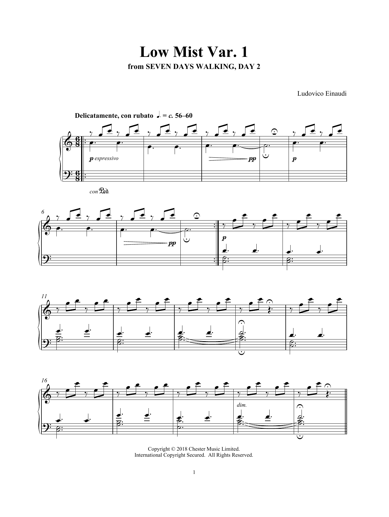 Ludovico Einaudi 'Low Mist Var  1 (from Seven Days Walking: Day 2)' Sheet  Music Notes, Chords | Download Printable Piano Solo - SKU: 412764