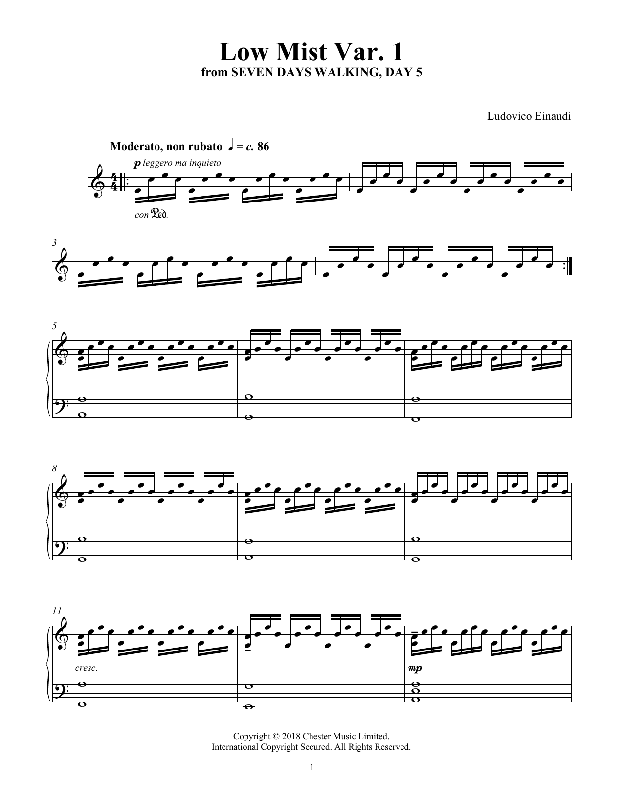 Ludovico Einaudi Low Mist Var. 1 (from Seven Days Walking: Day 5) sheet music notes and chords. Download Printable PDF.
