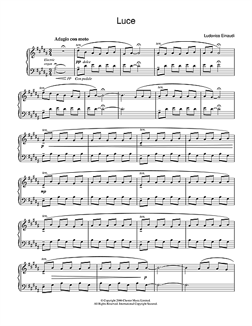 Ludovico Einaudi Luce sheet music notes and chords. Download Printable PDF.