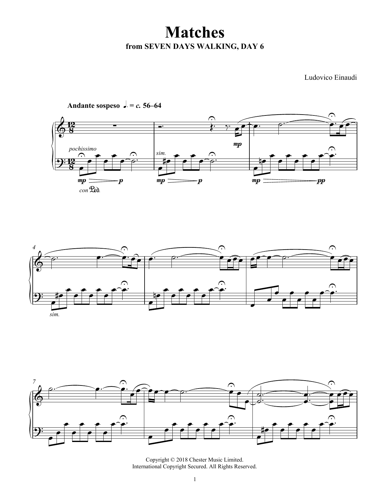 Ludovico Einaudi Matches (from Seven Days Walking: Day 6) sheet music notes and chords. Download Printable PDF.