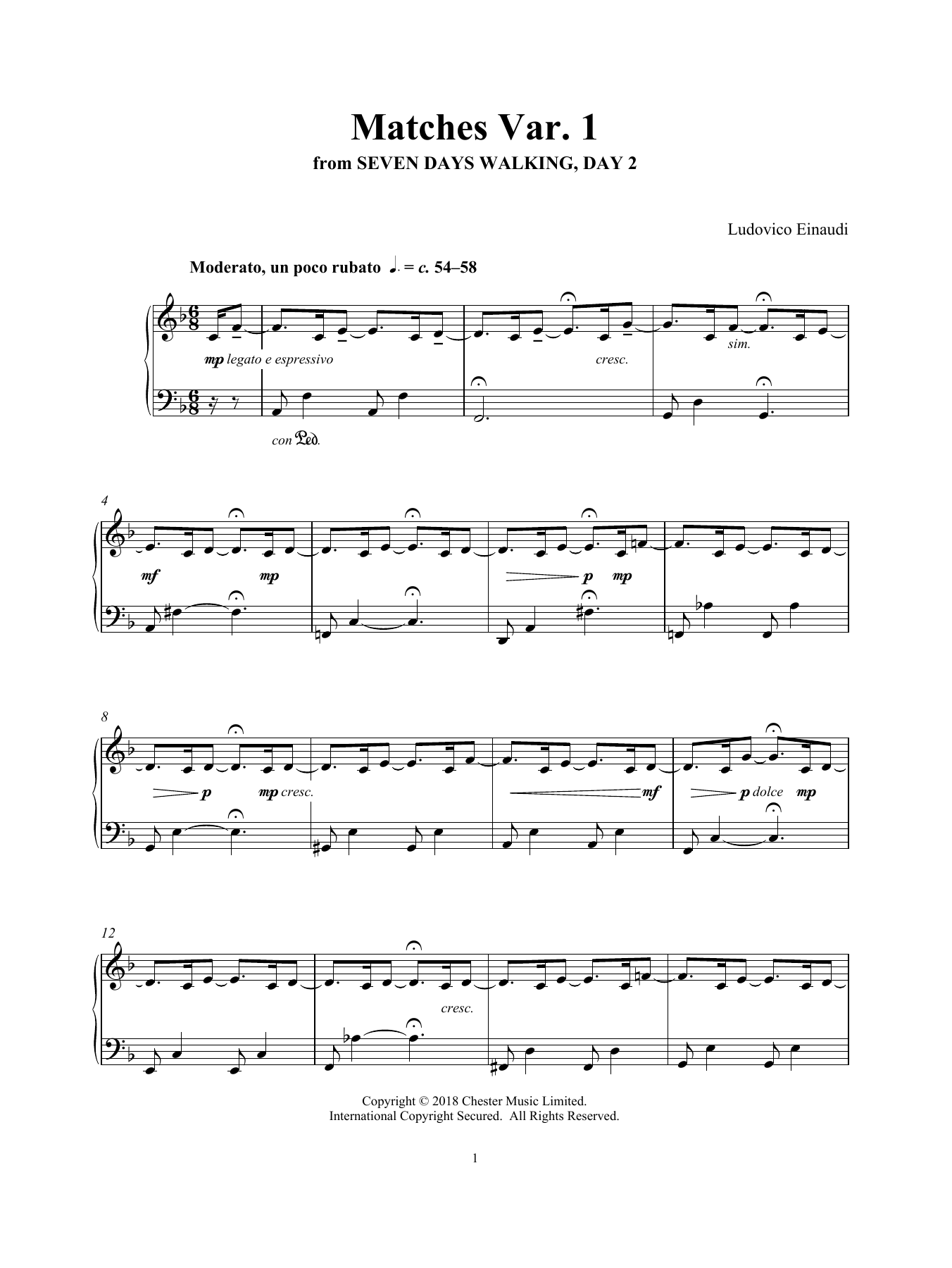 Ludovico Einaudi Matches Var. 1 (from Seven Days Walking: Day 2) sheet music notes and chords