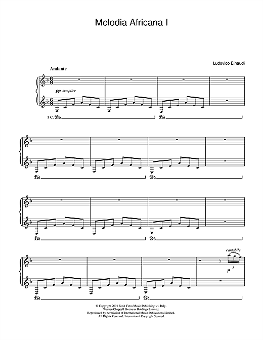 Ludovico Einaudi Melodia Africana I sheet music notes and chords. Download Printable PDF.